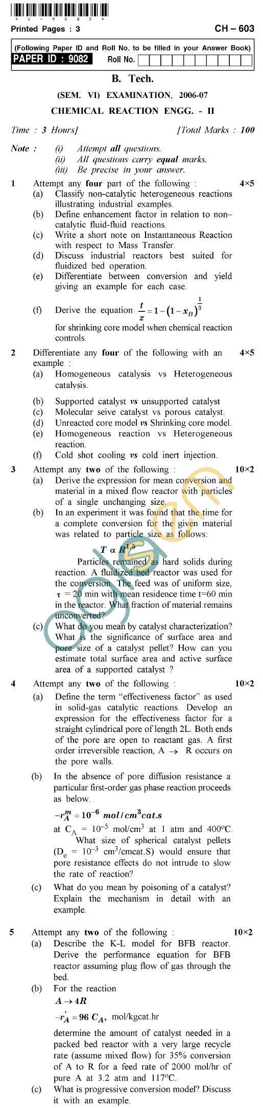 UPTU B.Tech Question Papers - CH-603 - Chemical Reaction Engineering-II