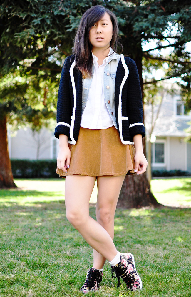 A California-based personal style blog: knitted F21 blazer, H&M light denim vest, American Apparel sleeveless lawn crop button-up, American Apparel camel corduroy circle skirt,  H&M ankle socks, F21 floral sneakers