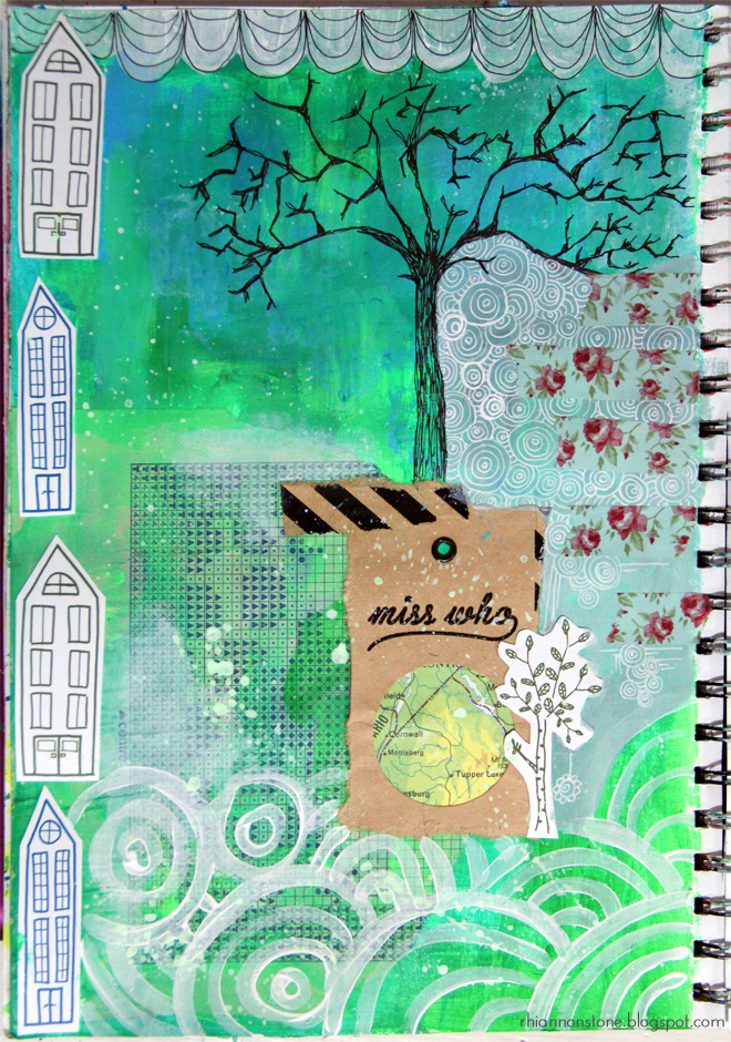 Weekly Art Journal page #23 // Use green