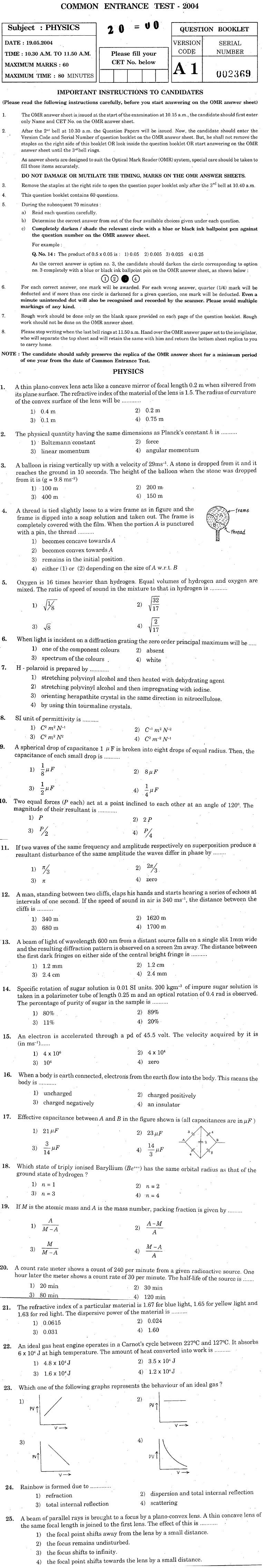 KCET 2004 Question Paper - Physics