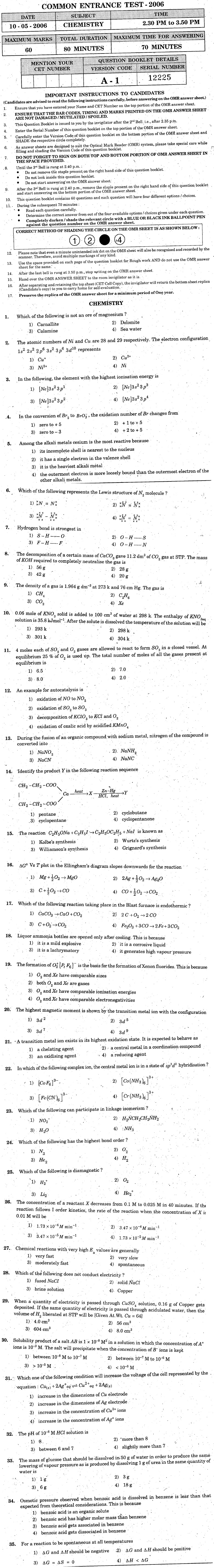 KCET 2006 Question Paper - Chemistry