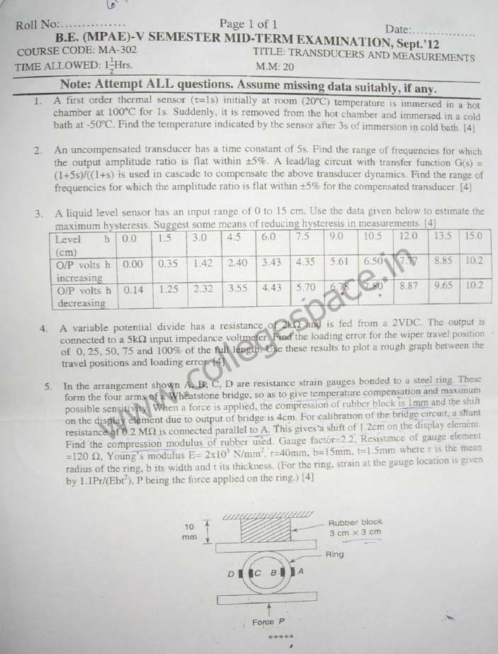 NSIT Question Papers 2012 – 5 Semester - Mid Sem - MA-302