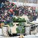 Demonstration of old Soviet tank. World War II battle reconstruction