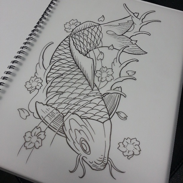 Japanese Tattoo Line Drawing : Line drawing of koi tattoo ink sketch art li