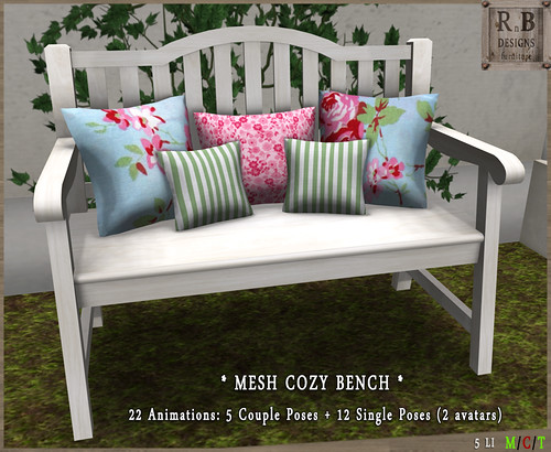 NEW ! *RnB* Mesh Cozy Bench 1-5 - Couple & Singles (2 avs)
