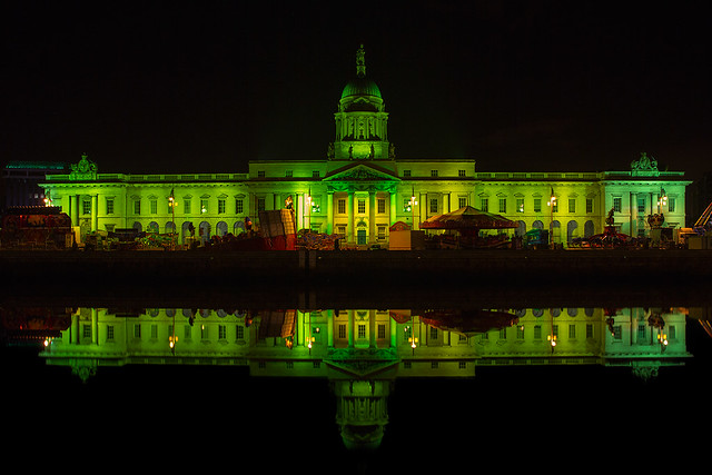 Custom House illuminated for Patrick's Day