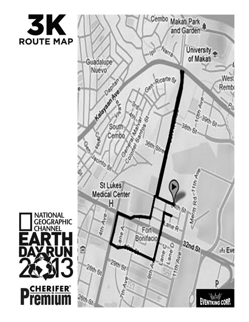 the running enthusiast  natgeo earth day run 2013 3K route map