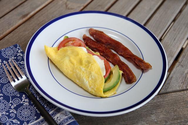 Bacon, Avocado And Cherry Tomato Omelettes Recipe — Dishmaps