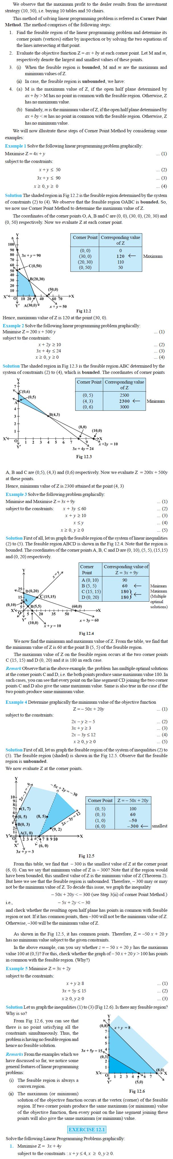 NCERT Class XII Maths Chapter 12 - Linear Programming