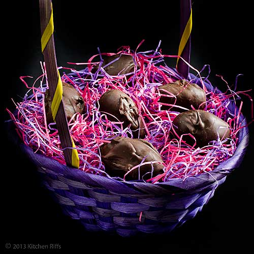 Buttercream Candy Easter Eggs with Chocolate Coating in Easter Basket