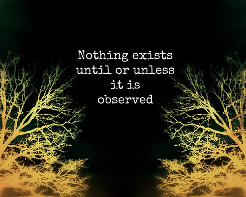 nothing exists until or unless it is observed