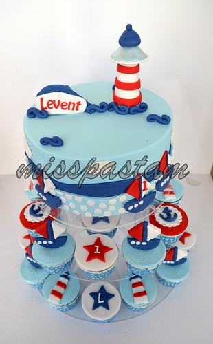 sailor cake and cupcake by MİSSPASTAM