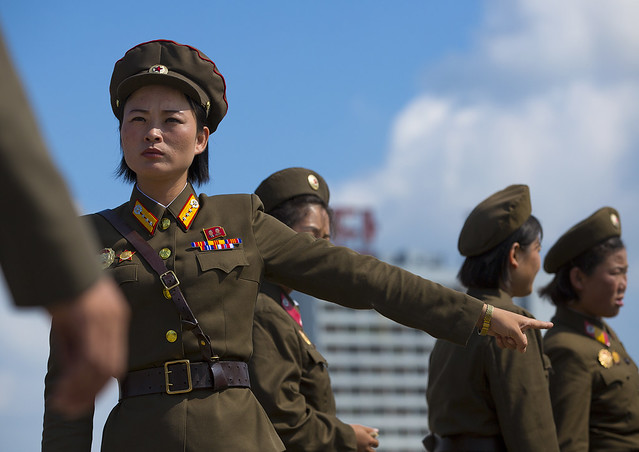 North Korean Female Soldiers In Tower Of The Juche Idea, Pyongyang, North Korea