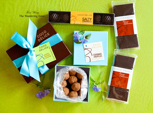 Coco Delice Chocolates: Cognac truffles, Assorted bonbons, Salty Caramels and Orange Cardamom Bars