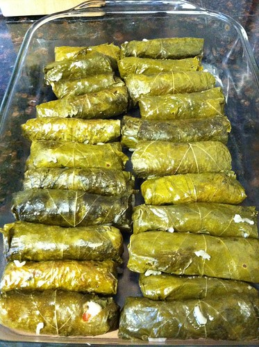 Making stuffed grape leaves - a family recipe