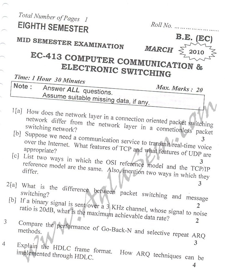 DTU Question Papers 2010 – 8 Semester - Mid Sem - EC-413