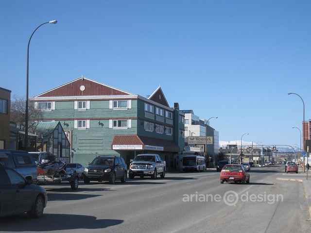 Downtown Whitehorse with Westmark Whitehorse Hotel in background