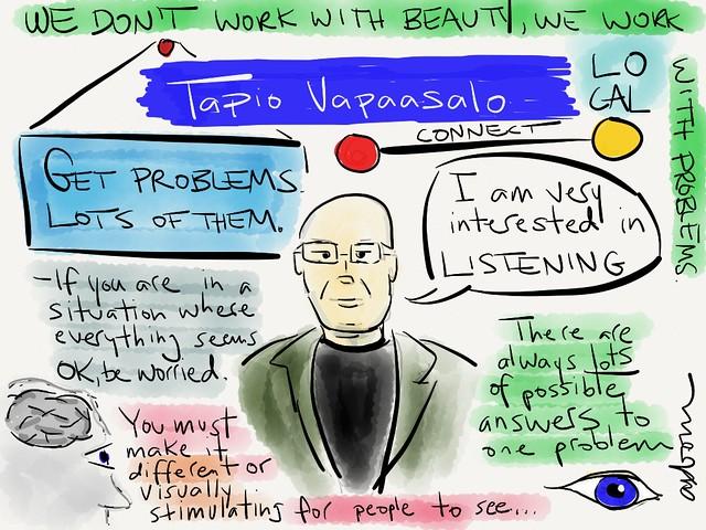 Sketchnotes from Tapio Vapaasala's talk at #aggro13