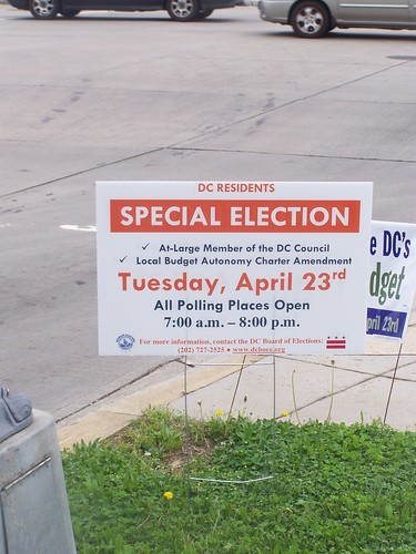 DC Special Election yard sign
