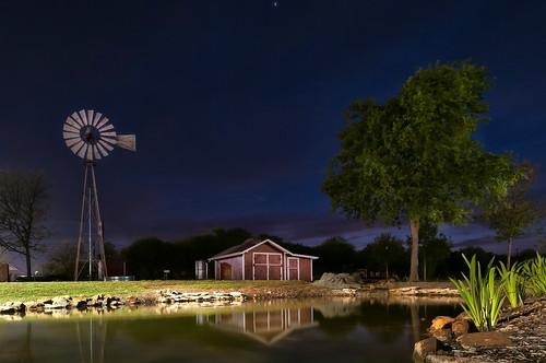 sunset usa water windmill night barn reflections landscape nikon texas cloudy d300 nikond300 rwigginphotos ronniewiggin