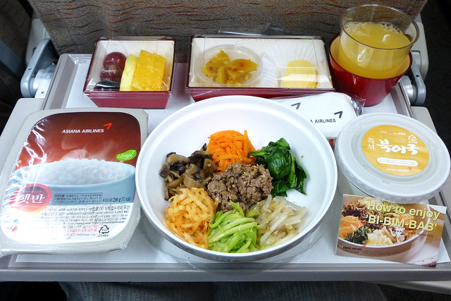 Korean style in-flight meal on Asiana Airlines アシアナ航空のビビンバ機内食