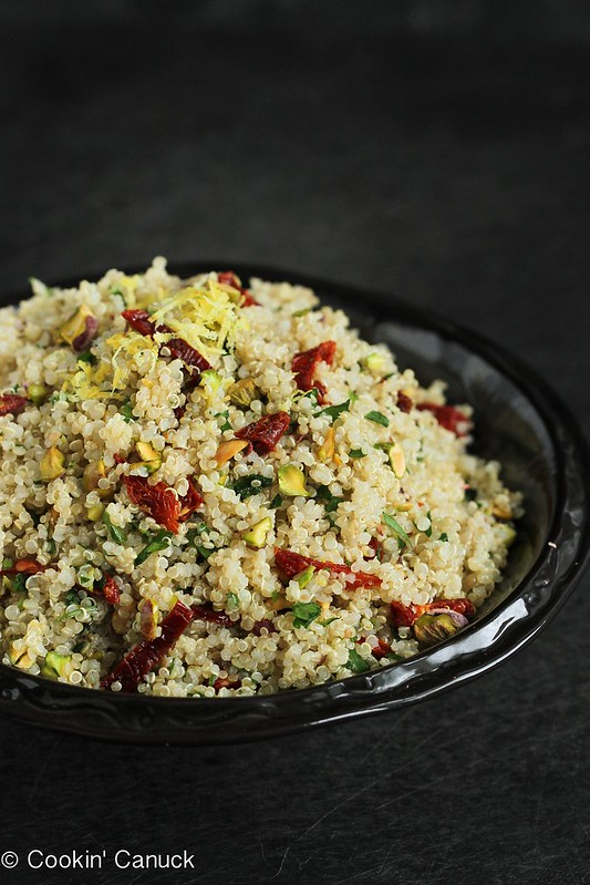 Lemon Quinoa Salad with Pistachios & Sun-Dried Tomatoes | cookincanuck.com #quinoa #vegetarian