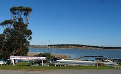 Clayton Bay. Here a narrow channel separates Clayton Bay on the mainland from Hindmarsh Island as the waterways head off towards the Murray Mouth.