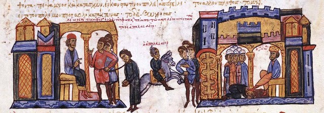 Leo Phokas sent  captive Arab Apolasaeir (Abul Asair), whom he defeated at Duluk in 956, to Emperor Constantine VII in Constantinople