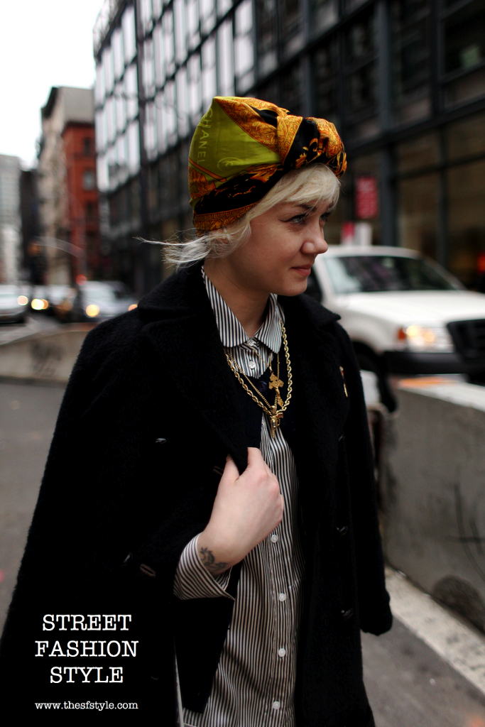 headwrap, chanel, gold, cape, brooch, thesfstyle, new york fashion blog,