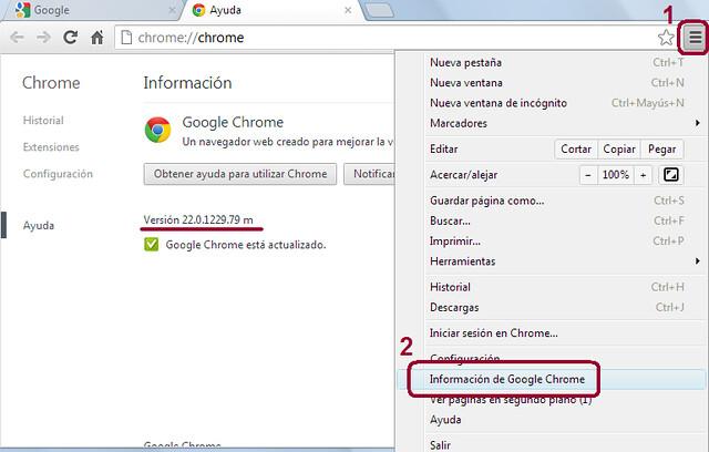 Versión navegador Chrome
