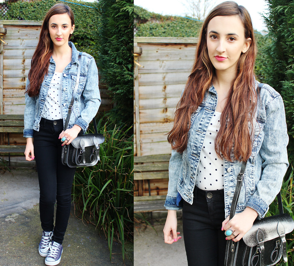 Denim Jacket and Cambridge Satchel Outfit