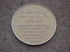 Photo of Elizabeth Latto Ewen yellow plaque