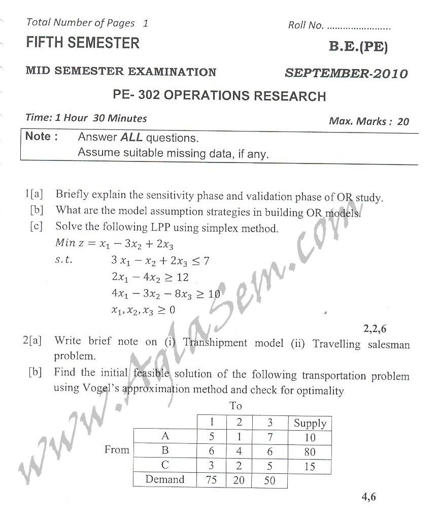 DTU Question Papers 2010 – 5 Semester - Mid Sem - PE-302
