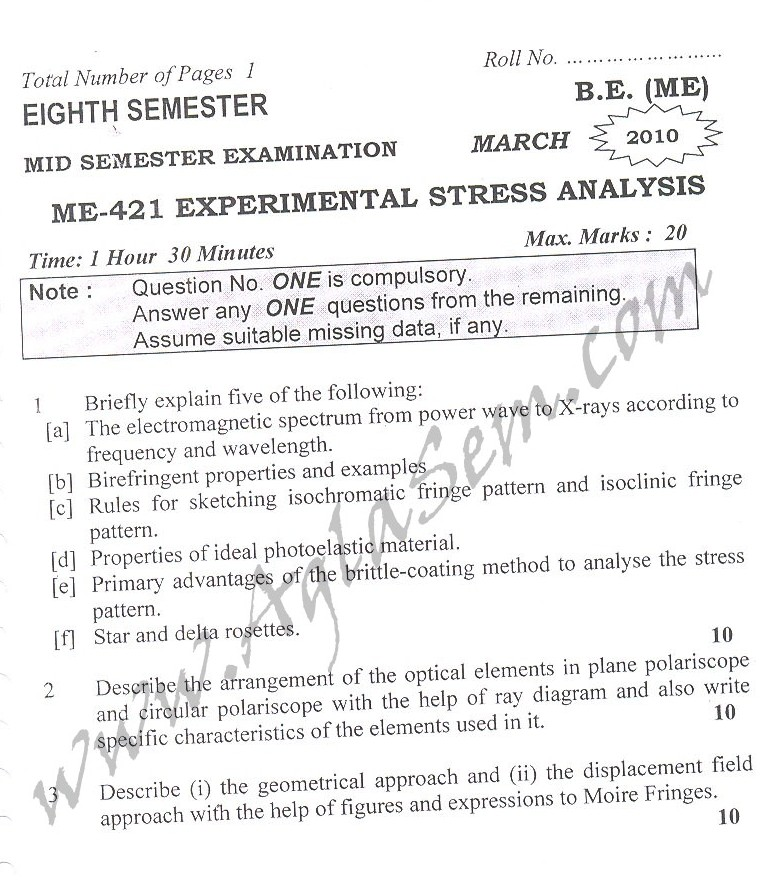 DTU Question Papers 2010 – 8 Semester - Mid Sem - ME-421