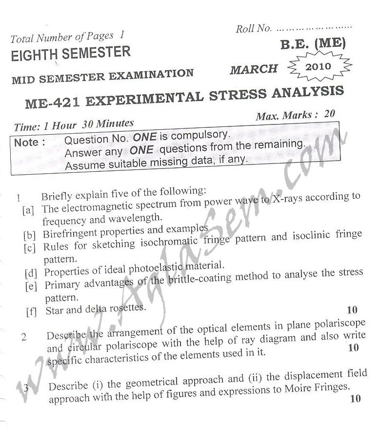 DTU Question Papers 2010 – 8 Semester - Mid Sem - ME-421