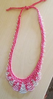 Pink scallop-edge necklace