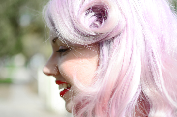 lilac hair curl swirl