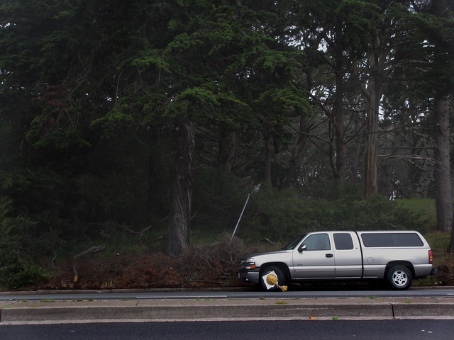 vehicle with wheel lock on Lincoln Way; The Sunset, San Francisco (2013)