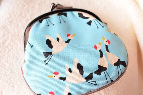 京都 がま口財布 「べる れがあろ」 水色 鶴
