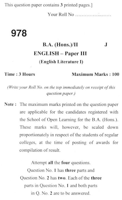 DU SOL B.A. (Hons.) ENG Question Paper -  English Literature I -  Paper III