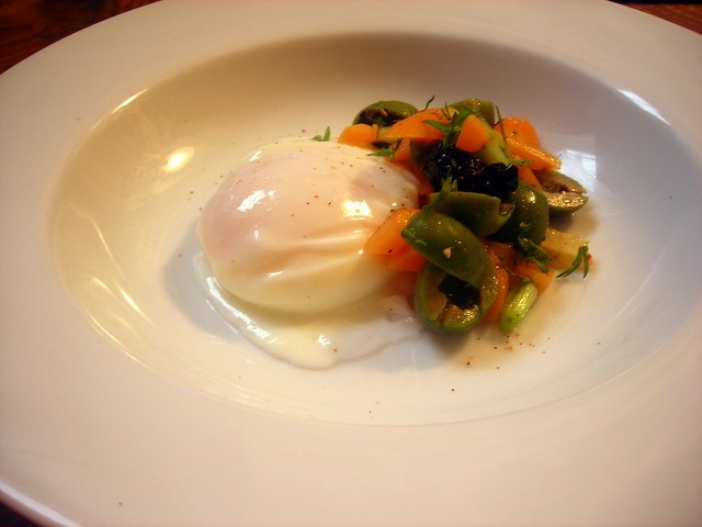 Poached farm egg, Moroccan spring carrot salad