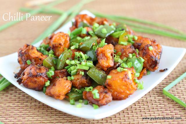 CHILLI PANEER DRY RECIPE| PANEER RECIPES | Jeyashri's Kitchen