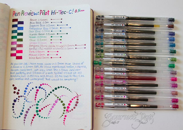 Pilot Hi-Tec-C 0.5mm Gel Ink Pens Writing Sample