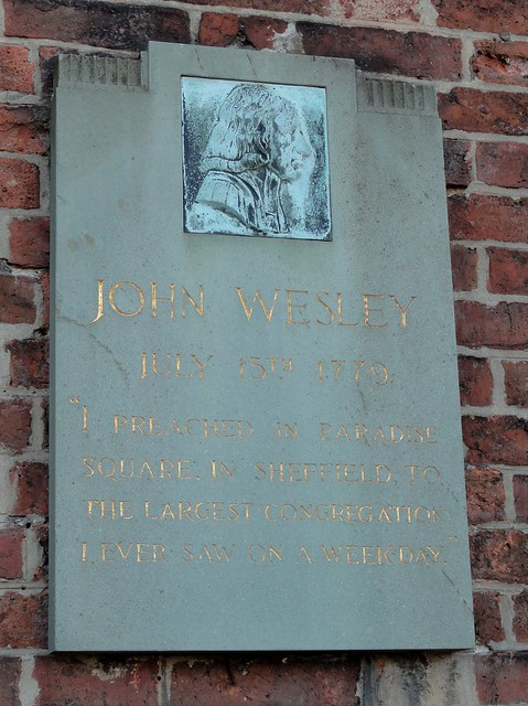 Photo of John Wesley stone plaque