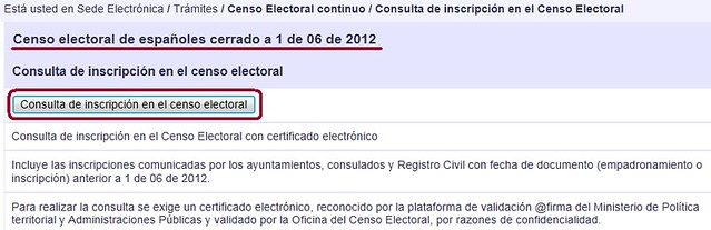Botón Consulta de inscripción en el censo electoral