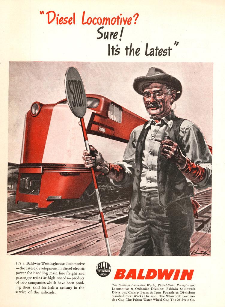 Baldwin diesel locomotive ad 1945