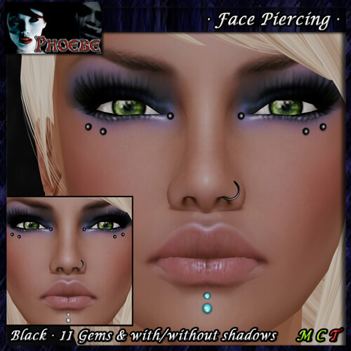 _P_ Unisex Face Piercing Q6 ~Black-11 Gems~