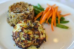 pork chop(0.0), meat(0.0), fritter(0.0), produce(0.0), meal(1.0), breakfast(1.0), vegetable(1.0), fried food(1.0), crab cake(1.0), vegetarian food(1.0), food(1.0), dish(1.0), cuisine(1.0),