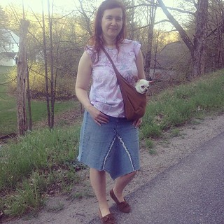 Day 2: Built by Wendy 3962 top, skirt made from old jeans, and twill Gertie sling. #memademay