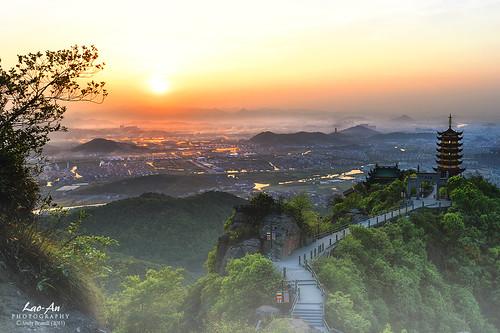 china sunset mountains misty fog landscape temple pagoda haze nikon rocks cityscape path villages monastery serene tranquil shaoxing d800 zhejiang religioussites xianglufeng photonmix elevatedpov laoanphotography